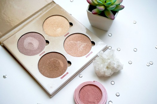 four highlighter pans in palette and small blush with succulent, quartz, and silver sequins