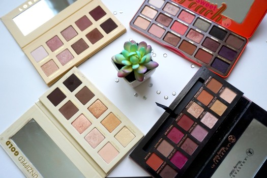 four eyeshadow palettes with succulent in middle