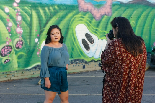 photoshoot with mural